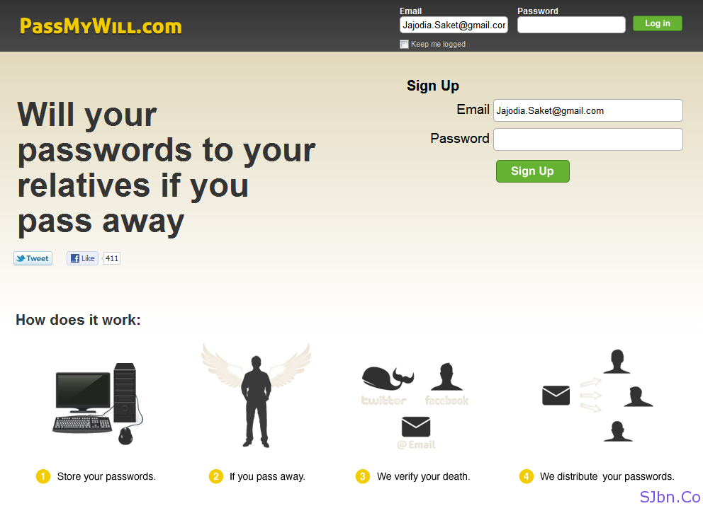 PassMyWill - Will your passwords to your relatives if you pass away