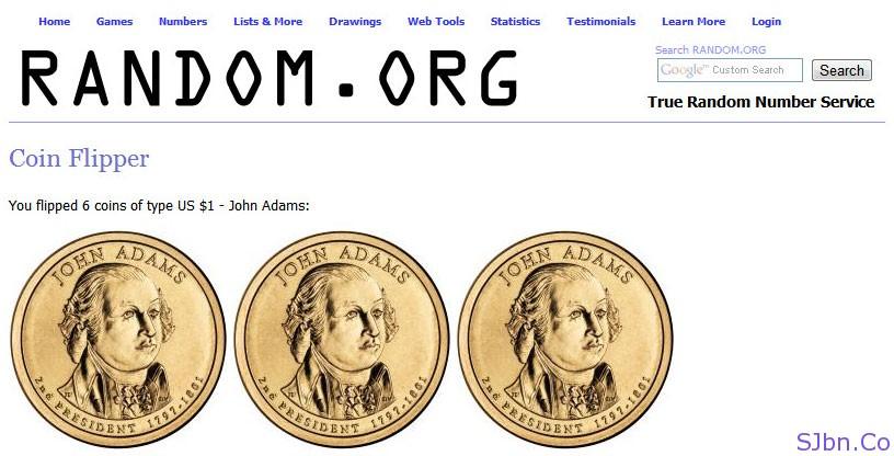 random.org - Coin Flipper - You flipped 6 coins of type US $1 - John Adams