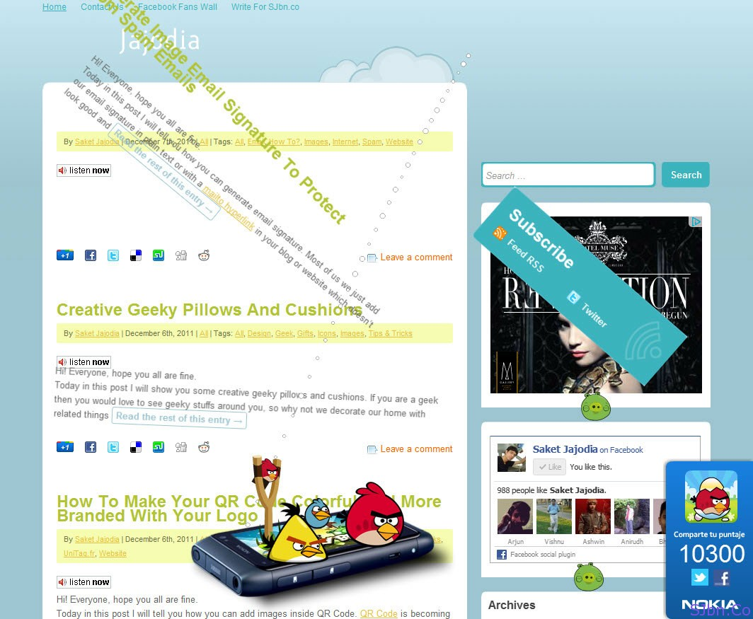 Angry Birds On Your Favorite Website