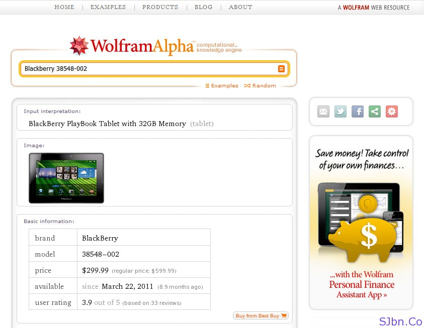 BlackBerry (38548-002) PlayBook Tablet Details In WolframAlpha