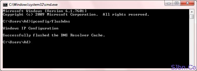 CMD dialog box - flushdns