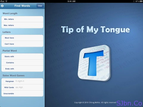 Tip of My Tongue (TMT) by Chirag Mehta for your iPad, iPhone and iPod
