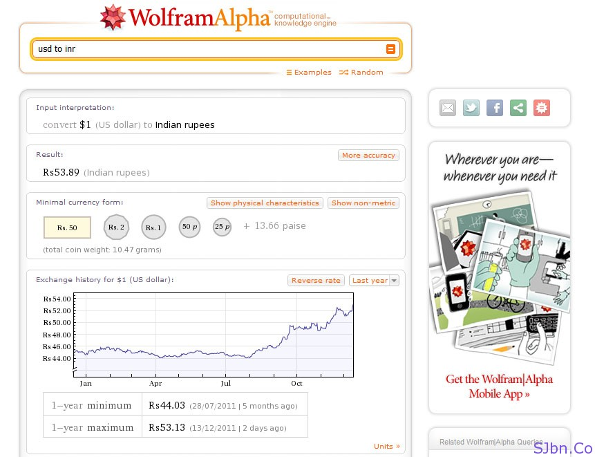 WolFram Alpha - USD to INR