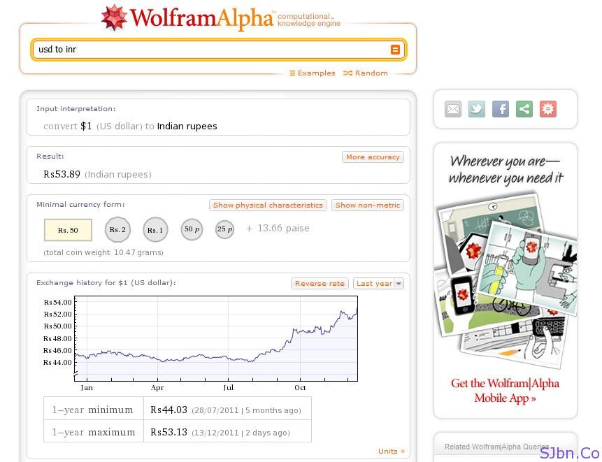 WolFram Alpha - USD to INR