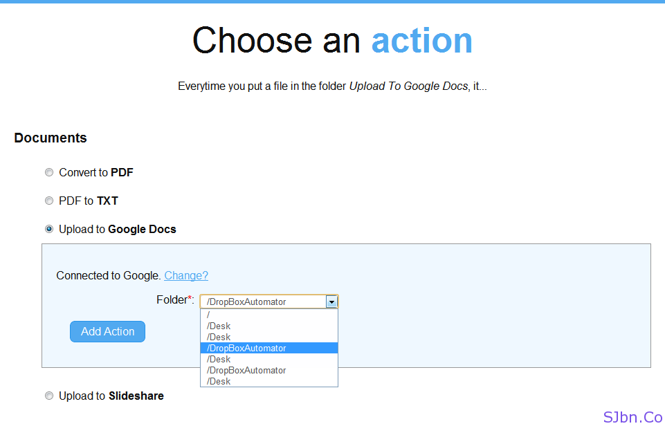 Choose an action - Upload to Google Docs