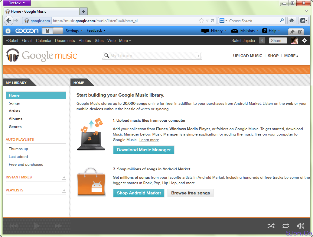 Google Music in Firefox with Cocoon Toolbar