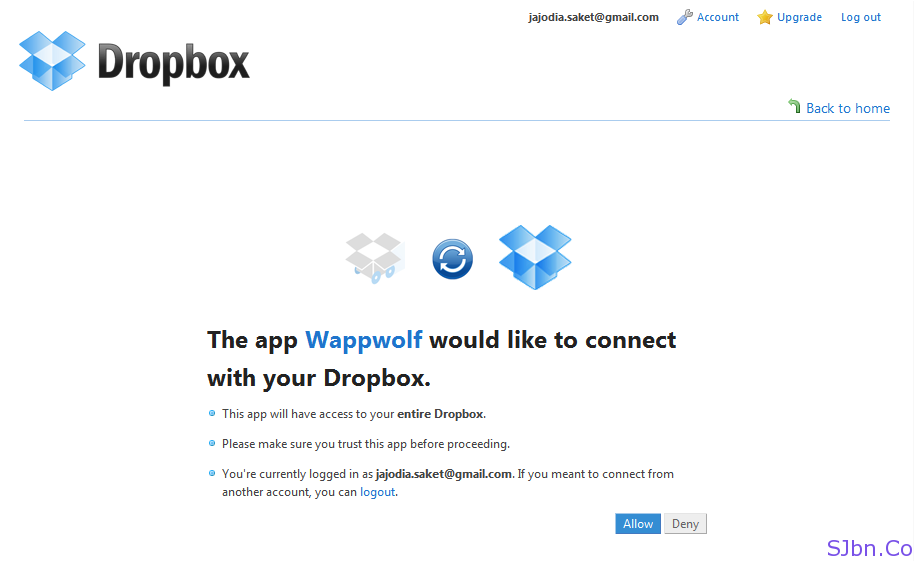 The app Wappwolf would like to connect with your Dropbox
