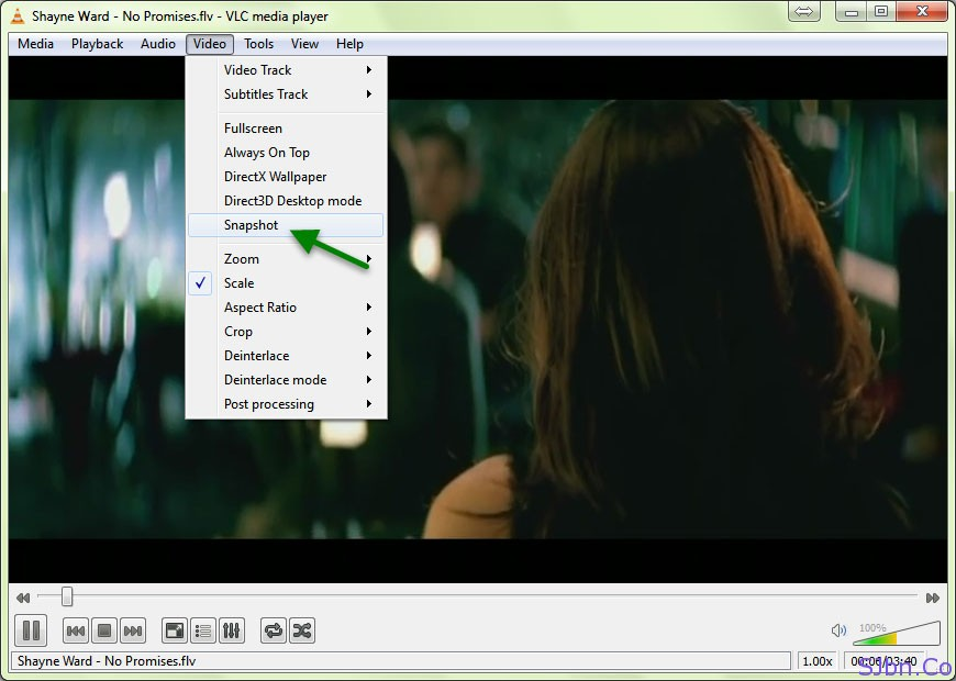 VLC Media Player - Menu bar -- Video -- Snapshot