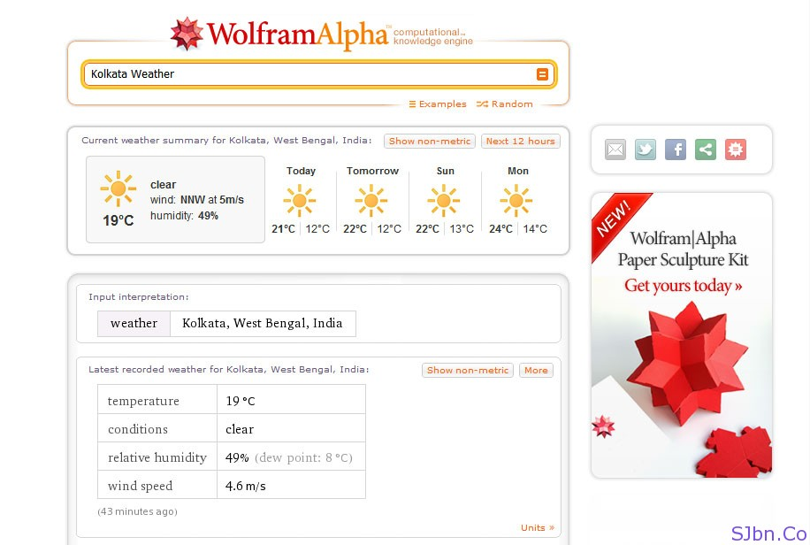 WolFramAlpha Weather Search For Kolkata