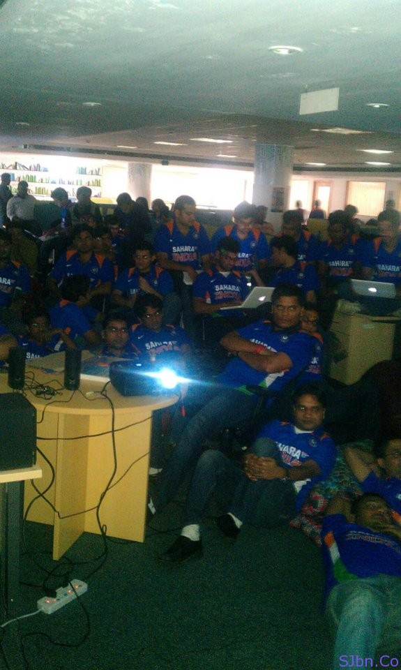 The office bled blue during the India vs Pakistan 2011 World Cup semi-final.