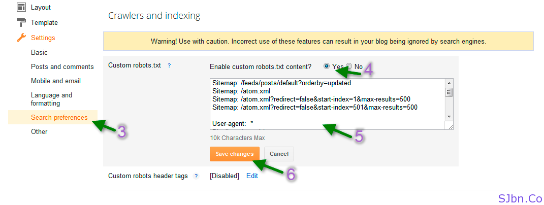 Blogger - Search preferences - Custom robots.txt