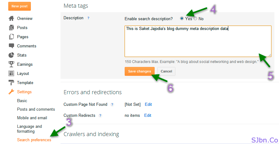 Blogger - Search preferences - Description
