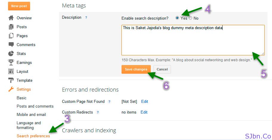 Blogger - Search preferences - Description