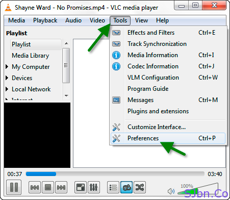 VLC - Tools -- Preferences