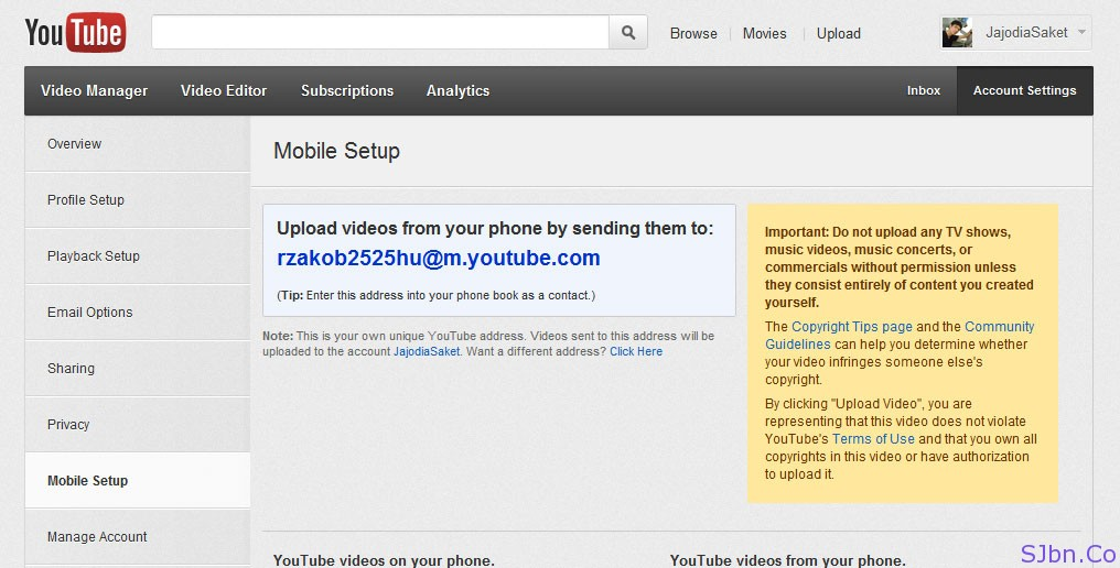 YouTube.com -- Account Settings -- Mobile Setup