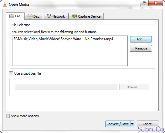 VLC - Open Media - Files Selections – Convert-Save