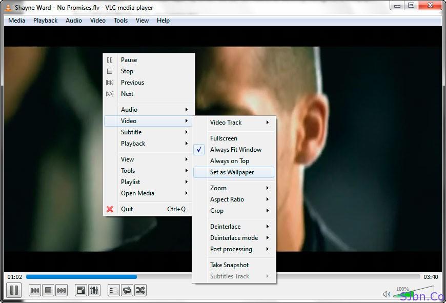 VLC - Video -- Set as Wallpaper